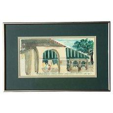 Vintage Signed New Orleans Watercolor Of The Cafe Du Monde