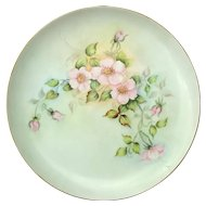 Antique Artist Signed Porcelain Rose Charger Serving Plate