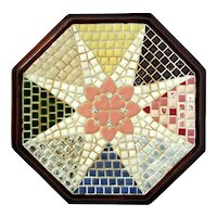 Vintage Wood Framed Mosaic Tile Trivet