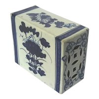 19th Century Chinese Blue And White Porcelain Opium Block Pillow