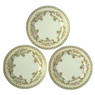 Set Of Three Antique French Haviland Desert Plates For Bailey Banks & Biddle