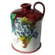 Vintage Signed Italian Majolica Pottery Wine Jug Decanter