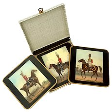 Vintage Boxed Set Of Three Win-El-Ware English Equestrian Wine Coasters