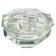 Vintage Beveled Cut Crystal Vanity Box