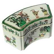 Early Vintage Chinese Famille Verte Porcelain Box