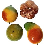Vintage Set Of Four Mexican Marble Stone Fruit