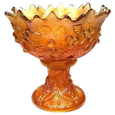 Antique Northwood Acorn Burrs Marigold Carnival Glass Punch Bowl, Circa 1900