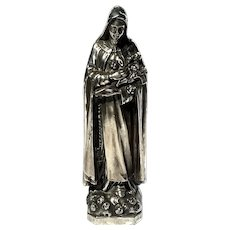 Early Vintage Silverplated Statue Of Saint Teresa
