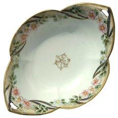 Vintage Signed Hand-Painted Nippon Floral Bowl
