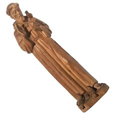 Antique Carved Wood Figure Of Saint Francis Of Assisi