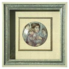 Hibel Studio Kaiser Porcelain Joanna And Children Plaque