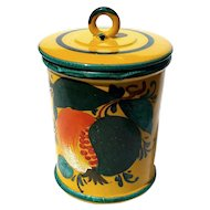 Large Vintage Signed Italian Majolica Pottery Canister Jar