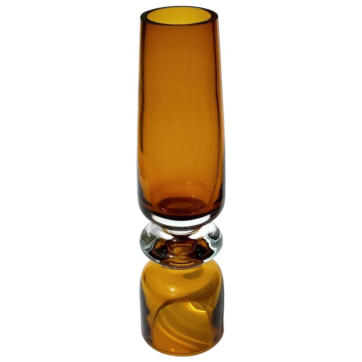 Large Marquis By Waterford Deep Amber Crystal Vase Stephen A