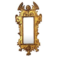 Antique Italian Gilt Wood Figural Mirror