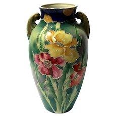 Antique Japanese Satsuma Pottery Handled Poppy Flower Vase