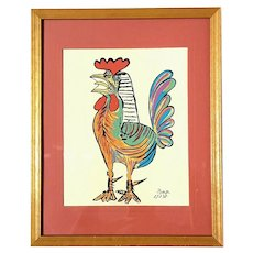 Vintage Signed And Dated Picasso Lithograph Titled Spanish Rooster 1