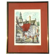 Vintage Signed Hand-Colored Engraving Of Quebec