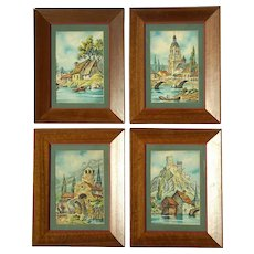Early Vintage Set Of Four French Signed Barday Watercolor Paintings