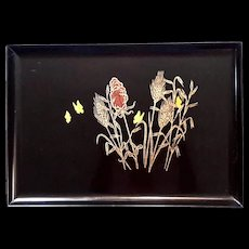Mid-Century Vintage Couroc Of Monterey Wheat And Butterfly Tray