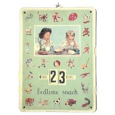 Vintage Bedtime Snack Calendar
