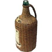 Antique Cuban Wine Bottle In Basket, Circa 1911