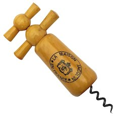 Antique French Wooden Wine Corkscrew