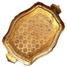 Early Vintage Italian Florentine Gilt Wood Handled Tray