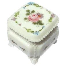 19th Century French White Opaline Glass Dresser Box