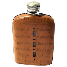 Vintage Leather Covered Glass Flask