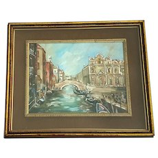 Vintage Signed Antonio Asturi (Italy, 1905-1986) Oil Painting Of Venice
