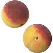 Pair Of Vintage Italian Alabaster Stone Fruit Peaches