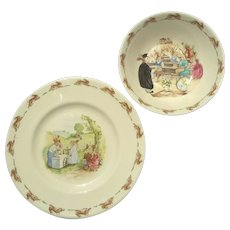 Vintage Royal Doulton Bunnykins Porcelain Child's Plate And Bowl