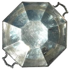 Antique Signed Pairpoint Silverplated Handled Octagonal Tray