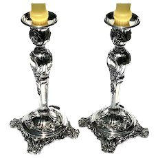 Vintage Signed Pair Of William Rogers & Son Silverplated Candlesticks