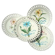 Set Of Four Hand-Painted Italian Floral Plates