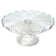 Antique Early American Pattern Glass Large Pedestal Cake Stand