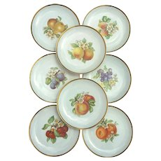 Vintage Set Of 8 Huchenruther Porcelain Fruit Desert Dishes