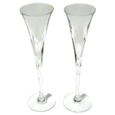 Signed Pair Of Ceska Danielle Crystal Champagne Toasting Flutes
