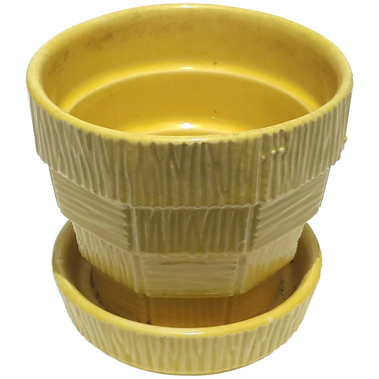Vintage Signed McCoy Pottery Yellow Flower Pot : Stephen A