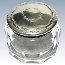 19th Century R. Wallace & Sons Cut Crystal Vanity Jar With Sterling Silver Lid