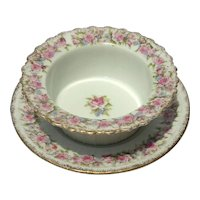 19th Century C. T. Altwasser Porcelain Berry Bowl With Liner, Circa 1875