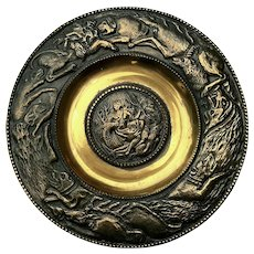 Signed Vintage Bronze Hunting Plaque