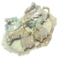 Vintage Royal Bayreuth Luster Porcelain Shell Condiment Set