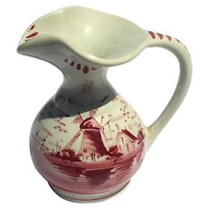 Vintage Signed Delft Red And White Pottery Pitcher