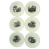 Antique Set Of Six Utzchneider & Co Sarreguemines France Transferware Plates