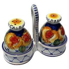Vintage Signed Italian Deruta Majolica Pottery Salt & Pepper Set