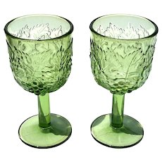 Pair Of Antique Early American Pattern Glass Goblets