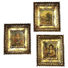 Set Of Three Vintage Italian Florentine Gilt Wood Pictures