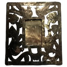 Vintage Hand-Made Pierced Iron Picture Frame