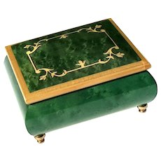 Vintage Italian Inlaid Wood Marquetry Music Box